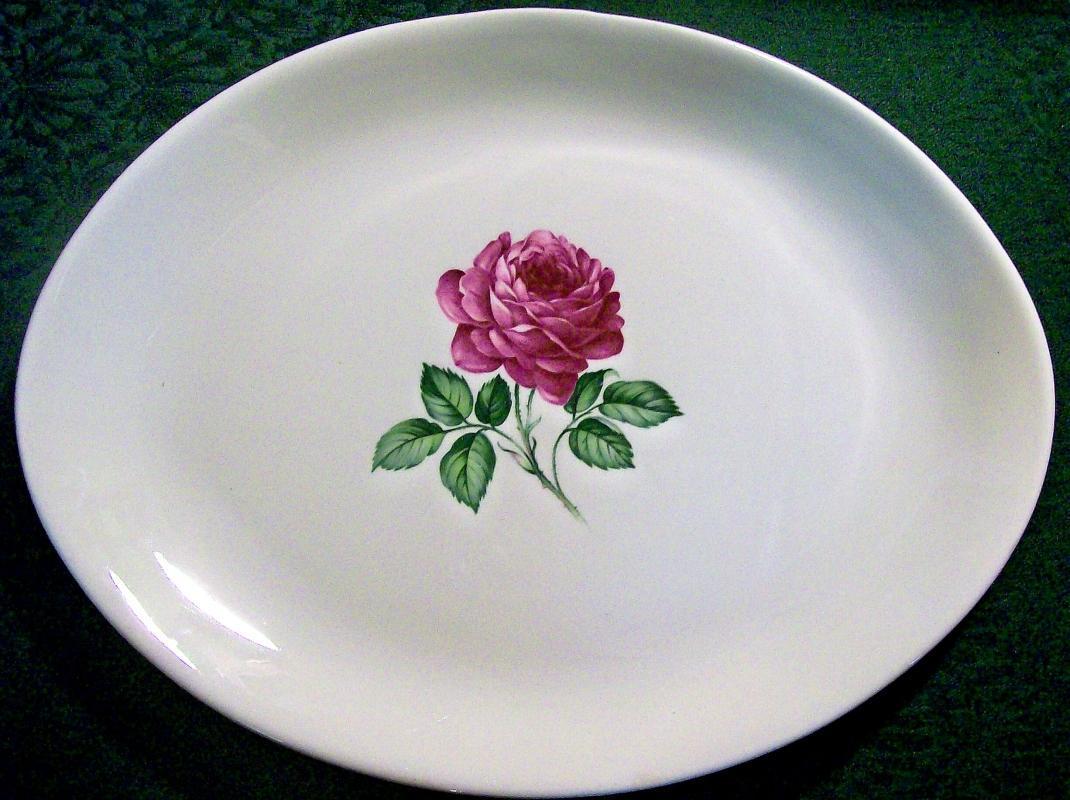 Vintage Crooksville CRO190 Dark Pink Rose Platter 13