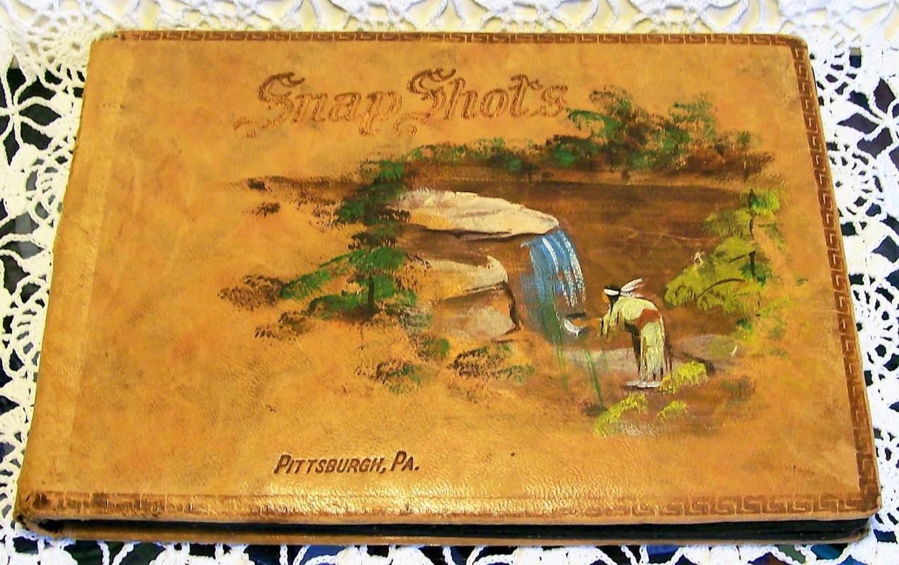 Antique Souvenir Photo Album Pittsburgh PA Indian Maiden Painted Leather