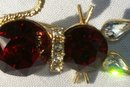 Vintage Dodd's Kitty Cat Pin Ruby Red Rhinestones 1960's Marked