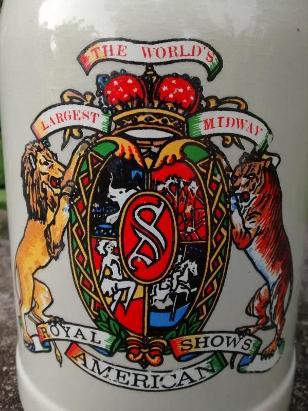 Vintage Royal American Shows Carnival/Circus Beer Mug German Stoneware