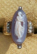 Antique Cameo Ring Agate Gold & Pearls 1870's Full Figure