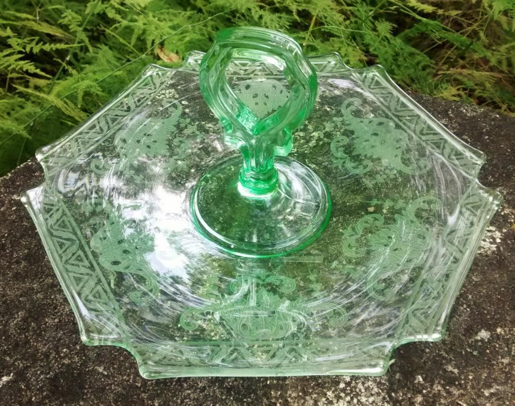 Vintage New Martinsville Green Depression Glass Center-Handle Tray Etched Scrolls/Triangles