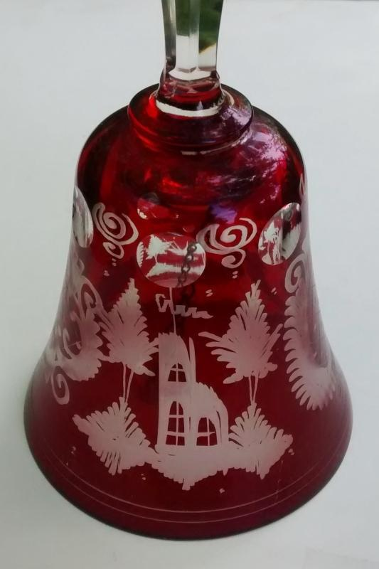 Vintage Bohemian Ruby-Cut-to-Clear Bell Egerman-Style