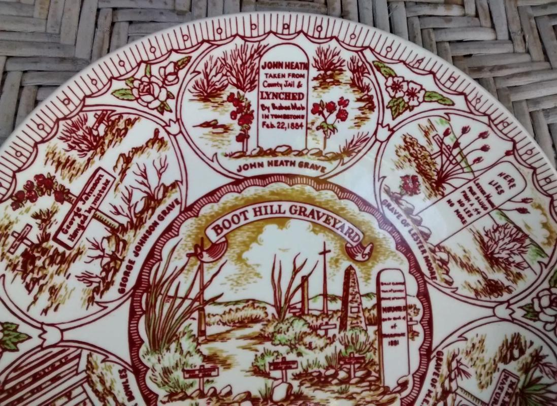 Vintage Tombstone Arizona Plate Boot Hill Graveyard