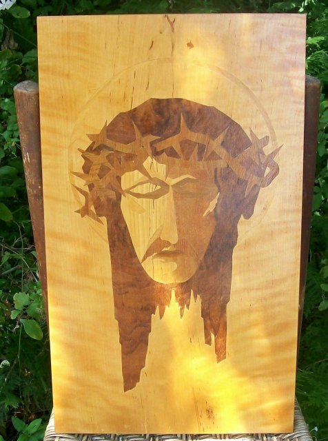 Vintage Jesus Christ Marquetry Plaque/ Wall Hanging Veronica