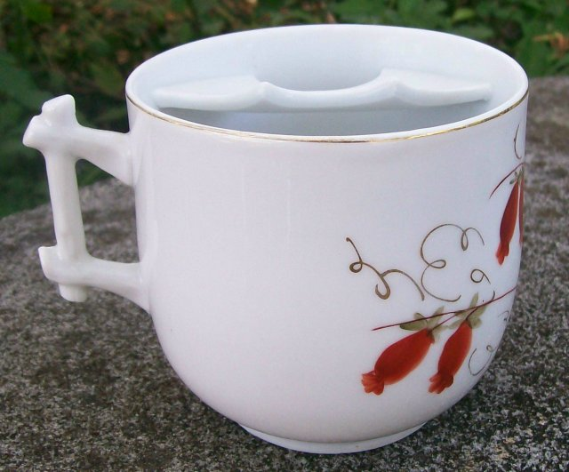 Antique Victorian Mustache Cup Red Flowers/Fruits HP