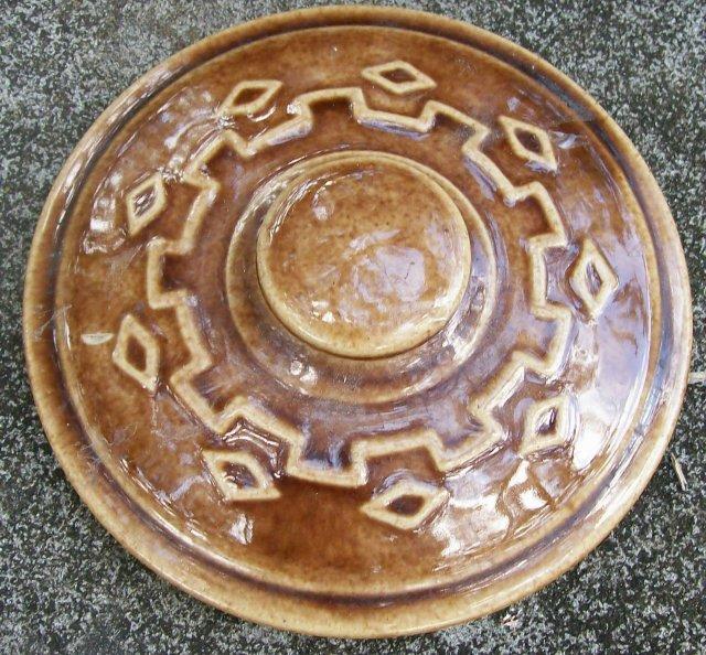 Monmouth/Western Stoneware Bean Pot Diamond Pattern Brown Glaze 1930s