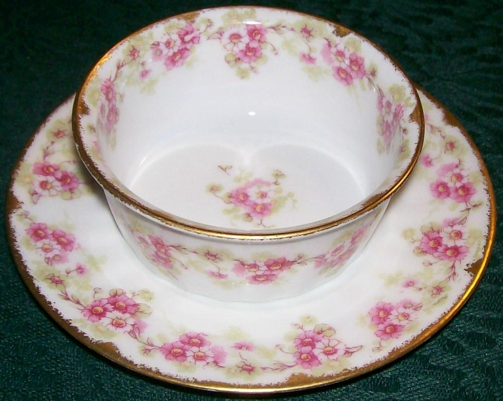 Antique Elite Limoges Ramekin w/Saucer Bawo & Dotter Pink Florals Early 1900's