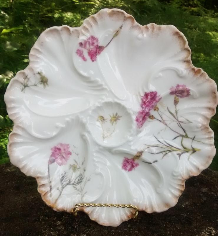 Antique Lanternier Limoges Oyster Plate Pink Carnations 1891-1914