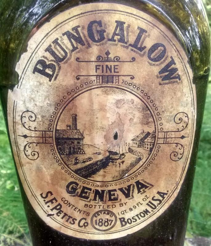 Antique Bungalow Geneva Gin Bottle w/Labels Ca. 1880 Dk Olive Green BIMAL