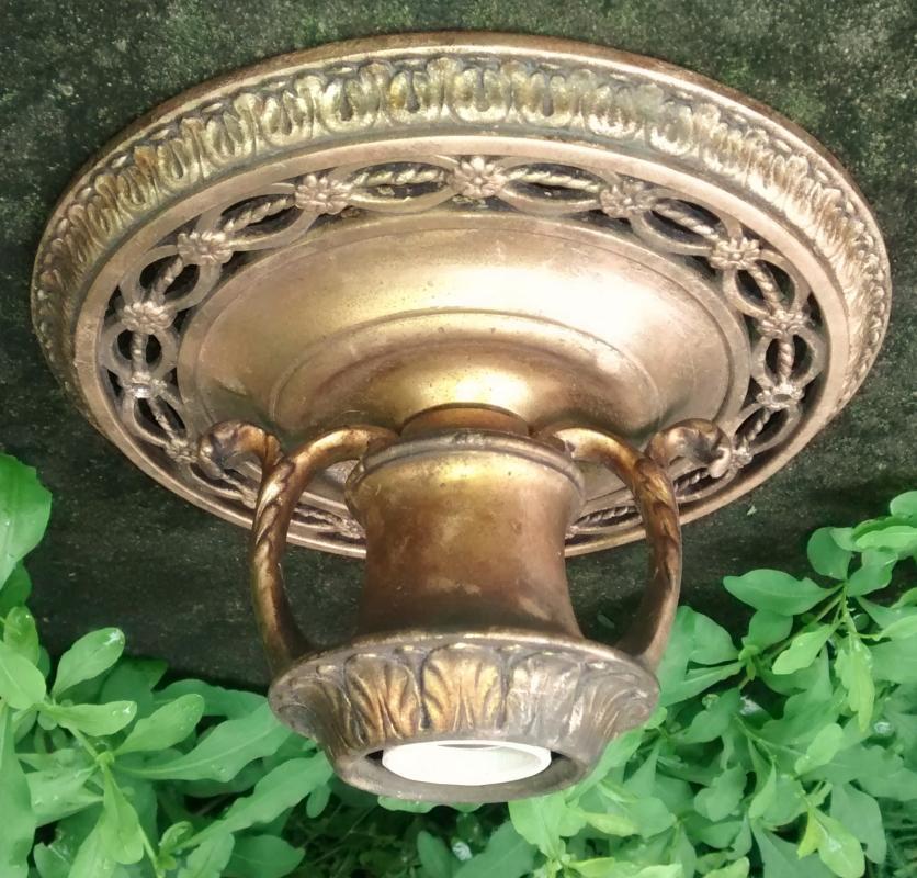 Antique Victorian Ceiling Light Fixture Bronzed Cast Metal Rewired