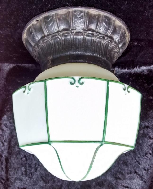 Vintage Lightolier Art Deco Ceiling Light Fixture Cast Iron Porch w/Shade Rewired