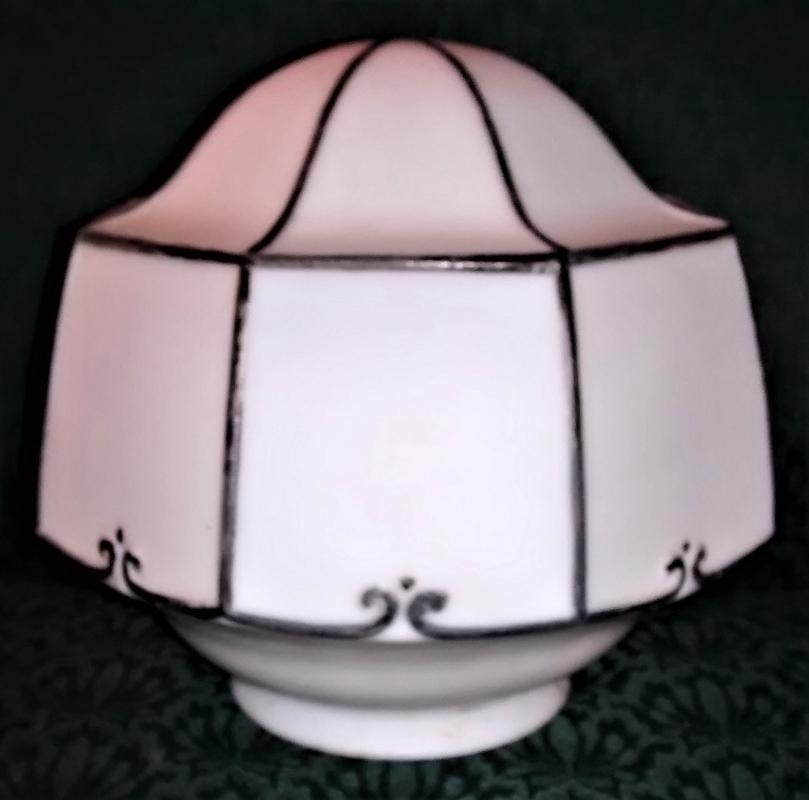 Vintage Lightolier Art Deco Ceiling Light Shade Black Trim Octagon