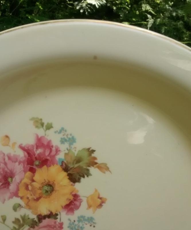 Vintage Crooksville #1238 Pantry Bak-In Pie Baker 1938 Yellow/Pink Flowers