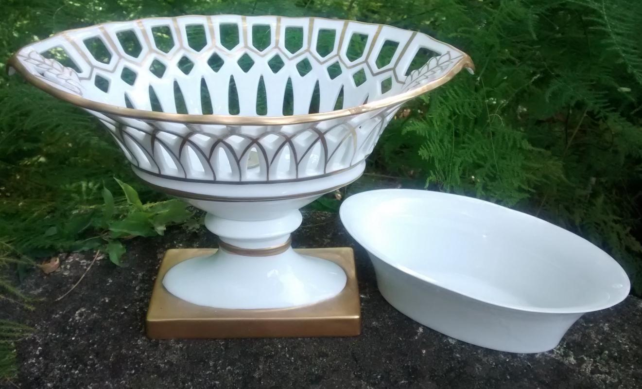 Vintage Old Paris-Style Corbeille Reticulated Basket w/Liner Gold/White