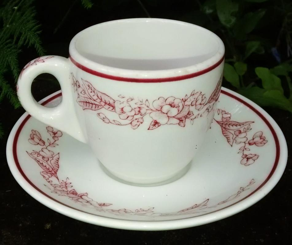Vintage Mayer May Time/Maytime Demitasse Cup & Saucer 1940s-50s Restaurant Red/White
