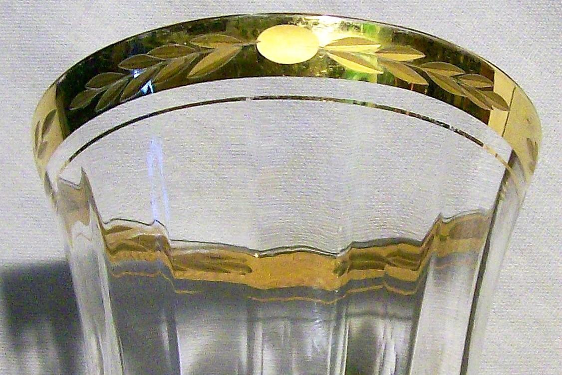 Vintage Tiffin #14196 Water Goblet Engraved Rim with Gold
