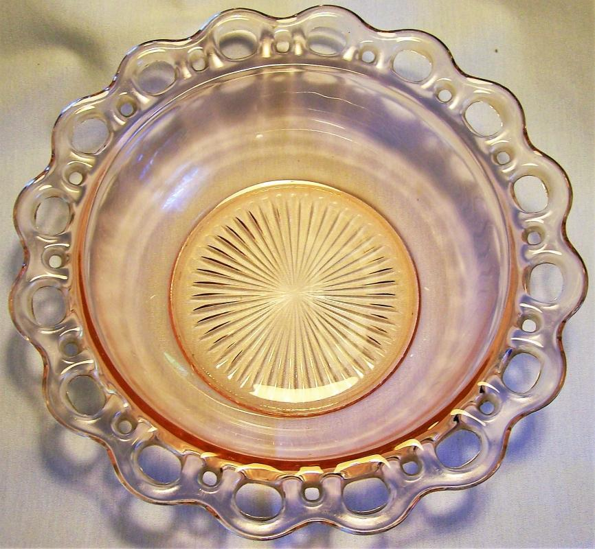 Vintage Hocking Lace Edge/Open Lace Bowl Pink 9.5