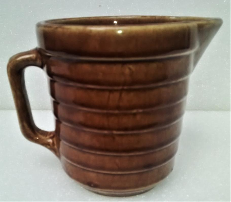 Vintage Monmouth/Western Stoneware Pitcher Horizontal Bands Brown 5