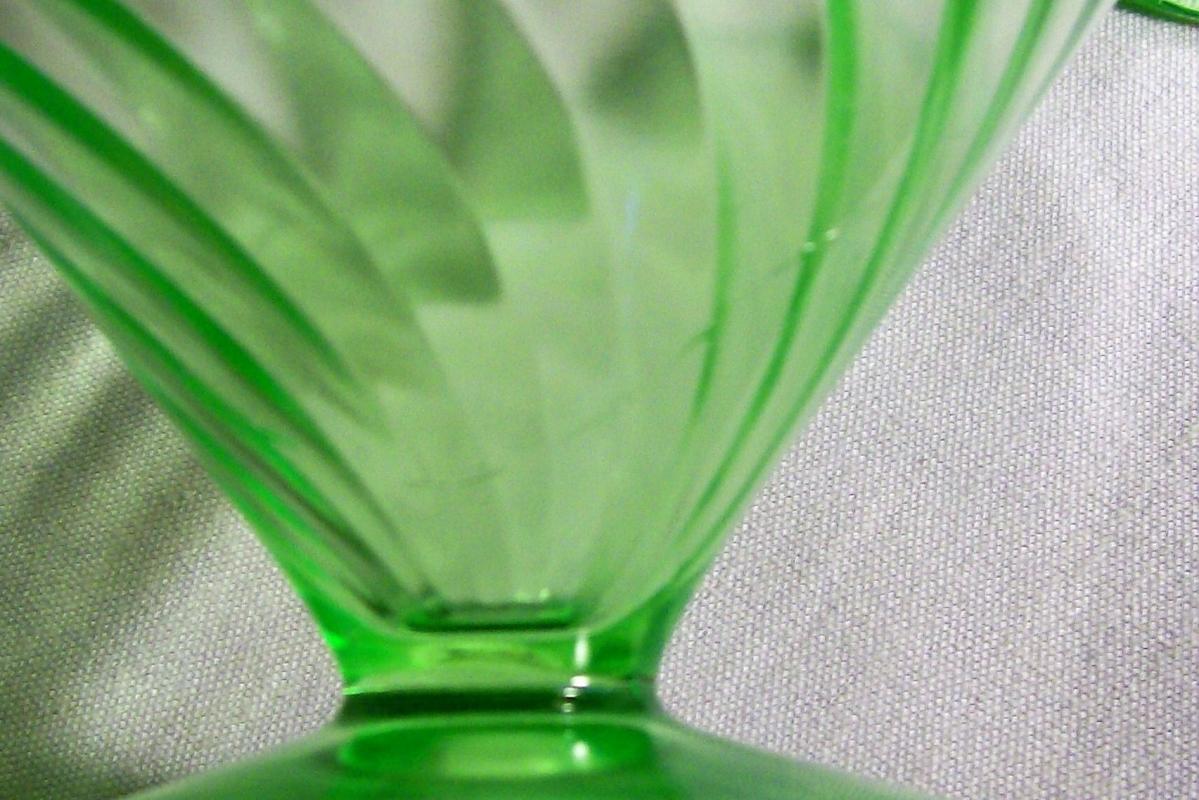 Vintage Federal Diana Sherbet Pair Green Depression Glass 1937-41