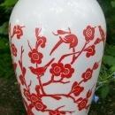 Vintage Hocking Vitrock Vase Red Birds & Blossoms 9