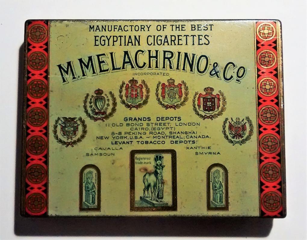 Vintage Melachrino Egyptian Cigarette Tin No. 9 1920s