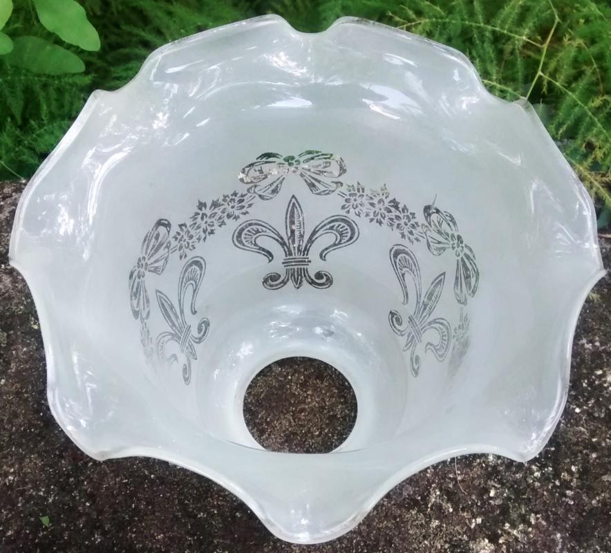 Antique/Vintage Frosted Glass Light Shade Fleur De Lis 2.25