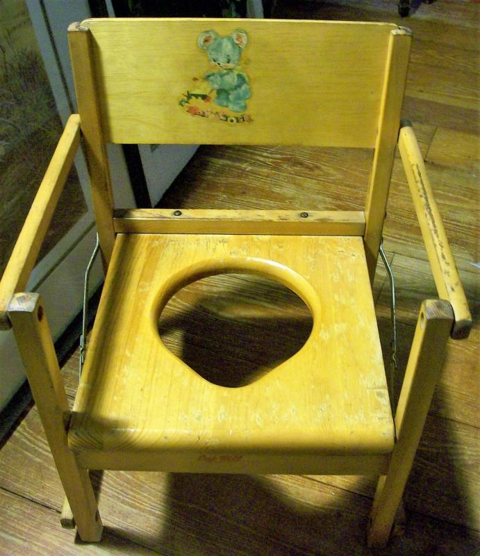 Vintage Folding Wooden Potty Chair Bear Decal 1950's
