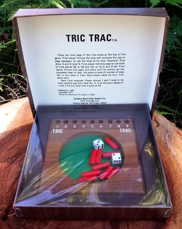 Vintage Drueke Tric Trac Game w/Box Walnut Complete