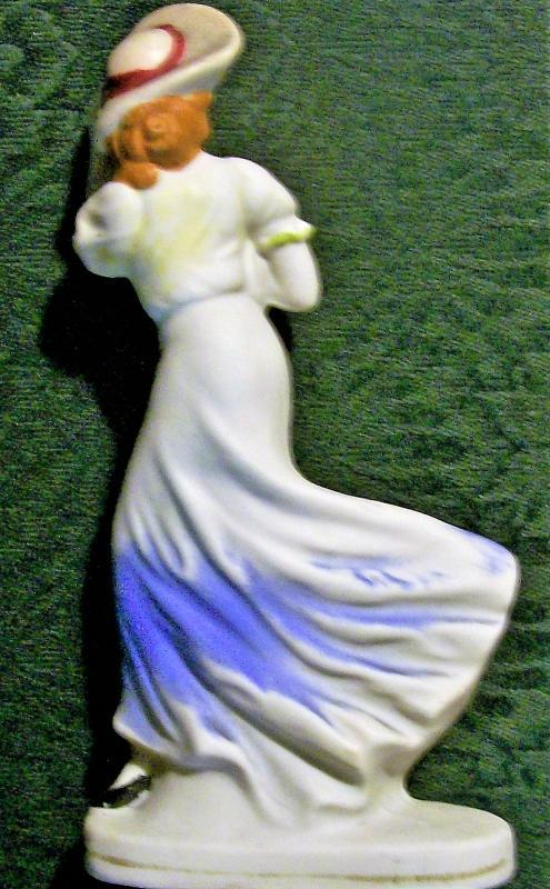 Vintage Bisque Windswept Lady Figurine Japan 1930s 6.75