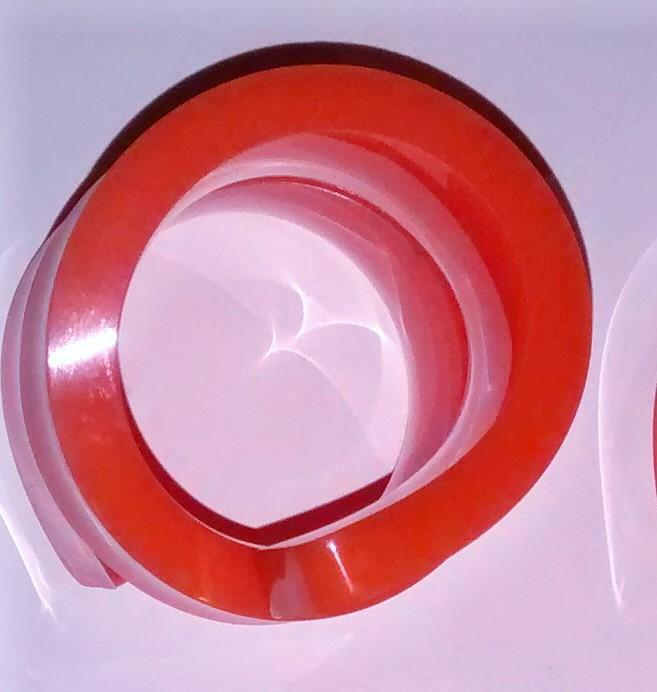 Vintage Acrylic Spiral Napkin Ring Set/6 Orange 1960s-70s