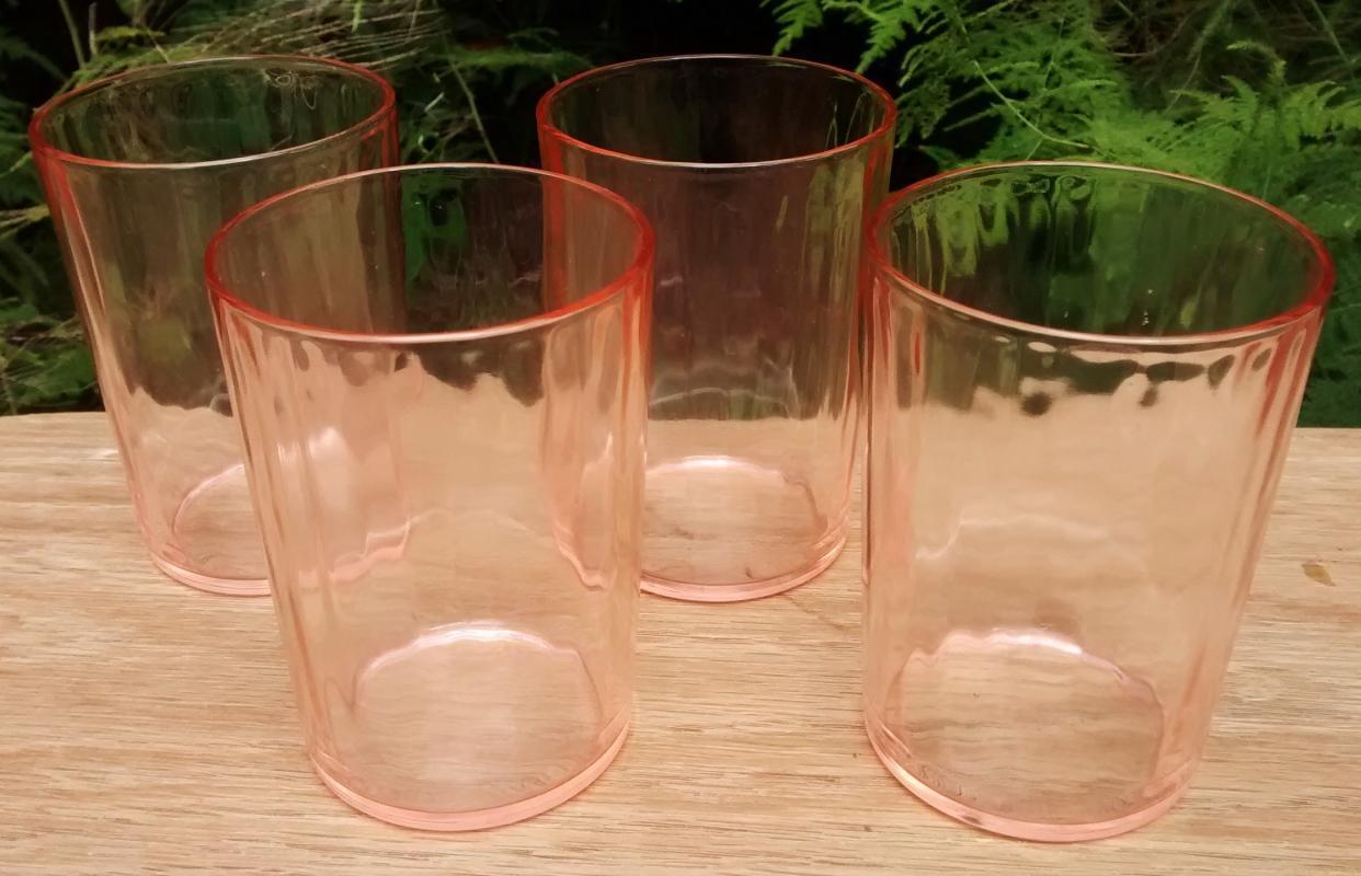 Vintage Libbey LRS253 Tumbler Set/4 Pink Depression Glass 3.75