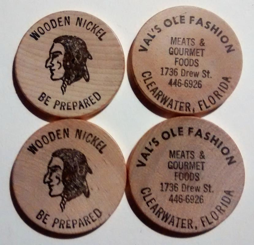 Vintage Wooden Nickel Set/4 Val's Ole Fashion Meats Clearwater Florida