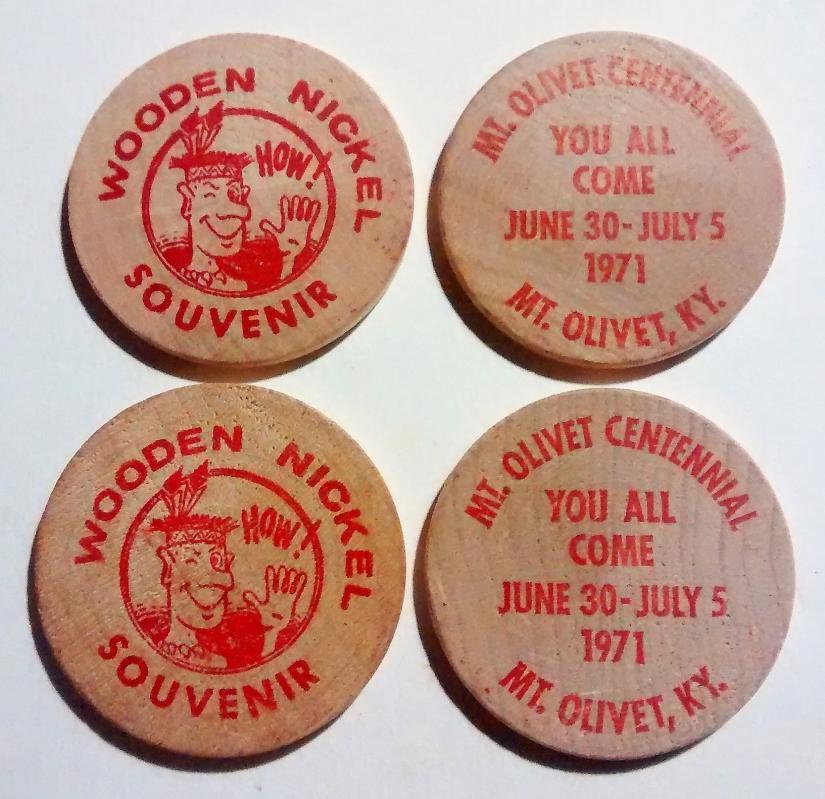 Vintage Wooden Nickel Set/4 Mt. Olivet Kentucky 1971 Centenniel