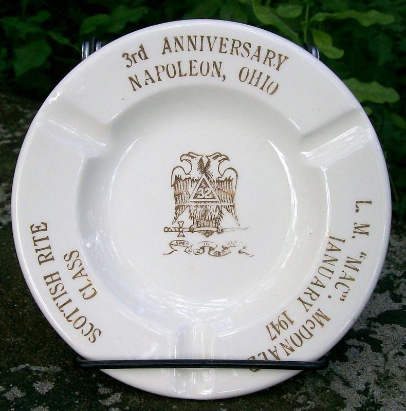 Vintage Masonic Ashtray Napoleon Ohio McDonald Ca. 1947