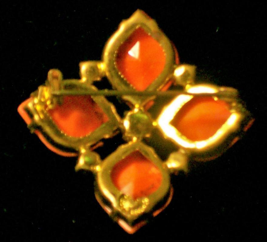 Vintage West German Faux Coral Brooch/Pin 1950s-60s Red Rhinestones