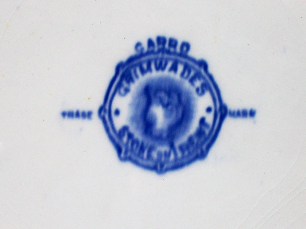 Antique Grimwades Carro Flow Blue Onion Platter 9