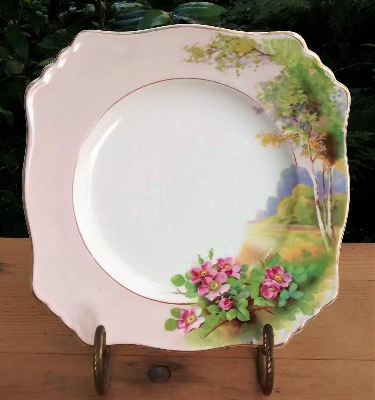 Vintage Royal Winton/Grimwades Plate Landscape w/Wild Roses  8.75