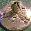Vintage Rodney Kent Tulip Aluminum & Glass Covered Dish
