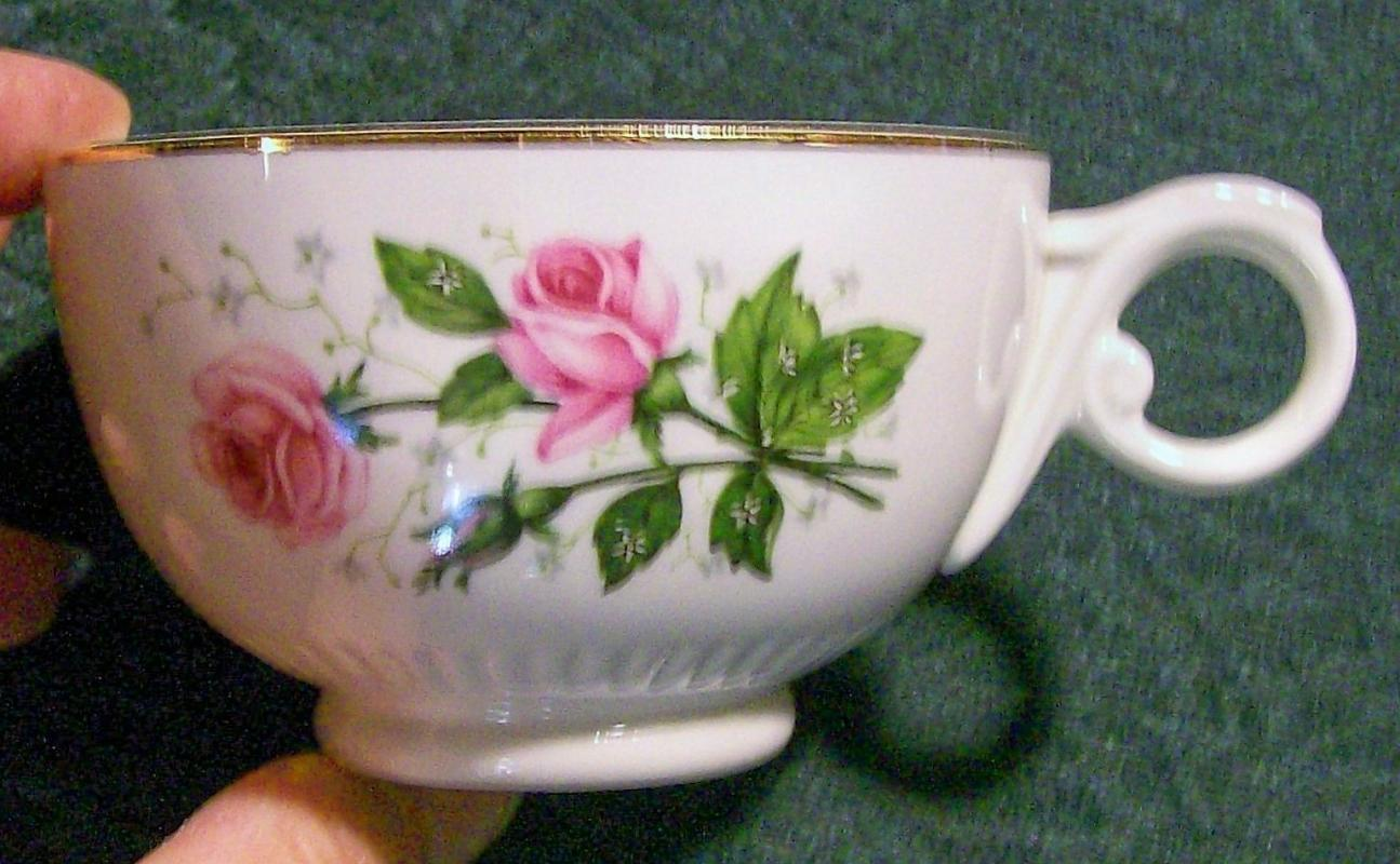 Vintage Hall Heather Rose Cup Pair Ca. 1955 Pink Roses