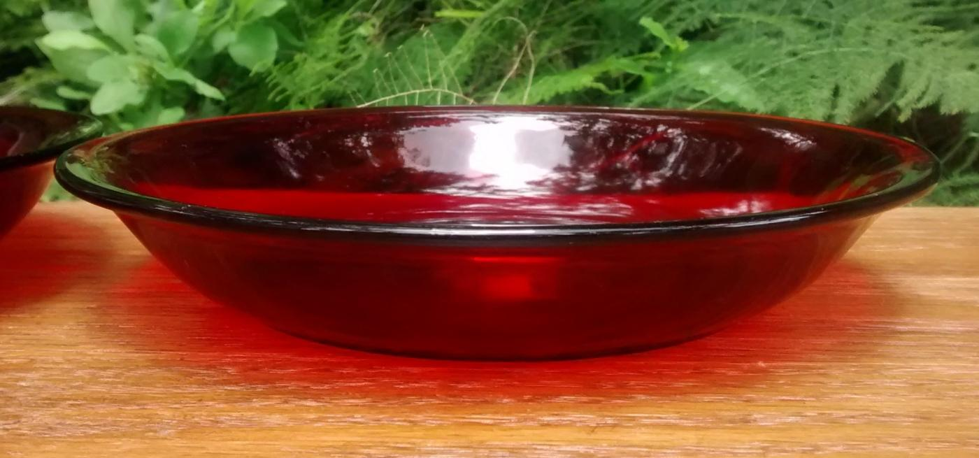 Vintage Hocking Royal Ruby Soup Bowl Pair R-1700 Line 1940s