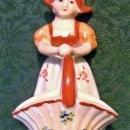 Vintage Occupied Japan Dutch Girl Basket Figurine 4.5