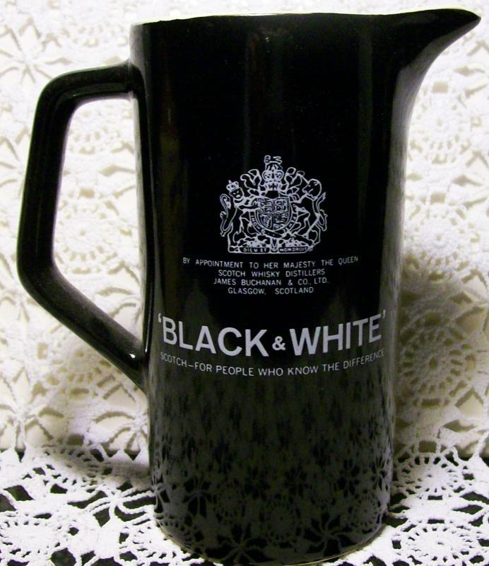 Vintage Black & White Scotch Advertising Pitcher w/Dogs Logo 6.75
