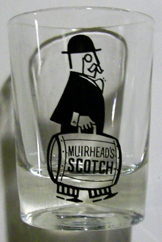 Vintage Muirhead's Scotch Whiskey Tumbler Man w/Keg Advertising Glass 3