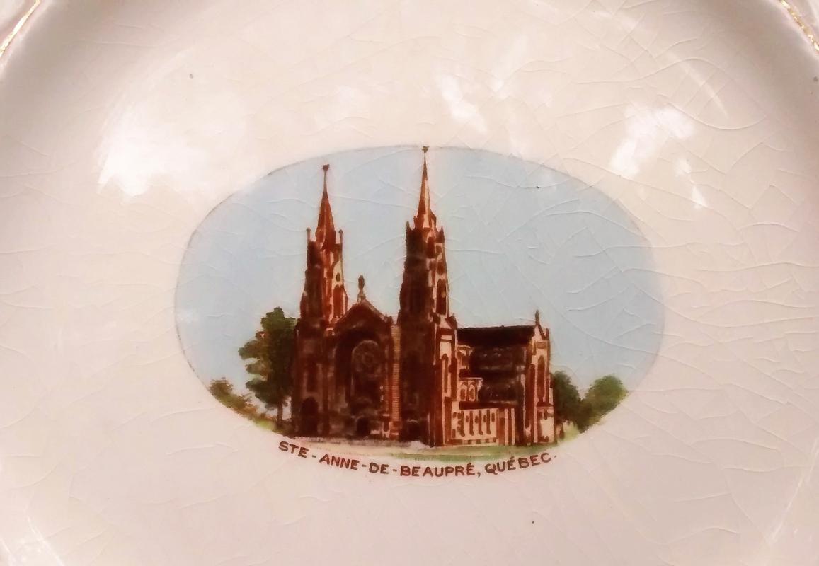 Vintage St. Anne De Beaupre Church Souvenir Plate Quebec Royal Winton 1930s