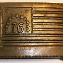 Vintage Postage Stamp Belt Buckle 6c Bennington Flag Brass-Plated