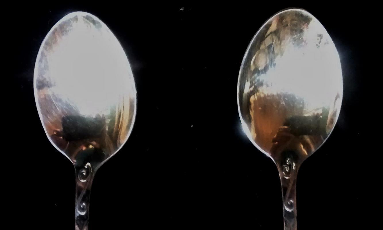 Vintage Alpacka Silver-Plate Demitasse Spoon Pair Ornate Crest 1950s