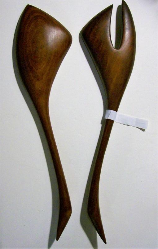 Vintage Polynesian Monkeypod Wood Salad Fork & Spoon 1950s-60s
