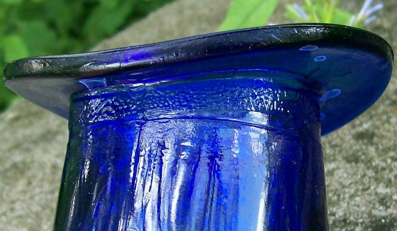 Vintage Cobalt Blue Glass Hat Novelty Vase/Match Holder  2.5