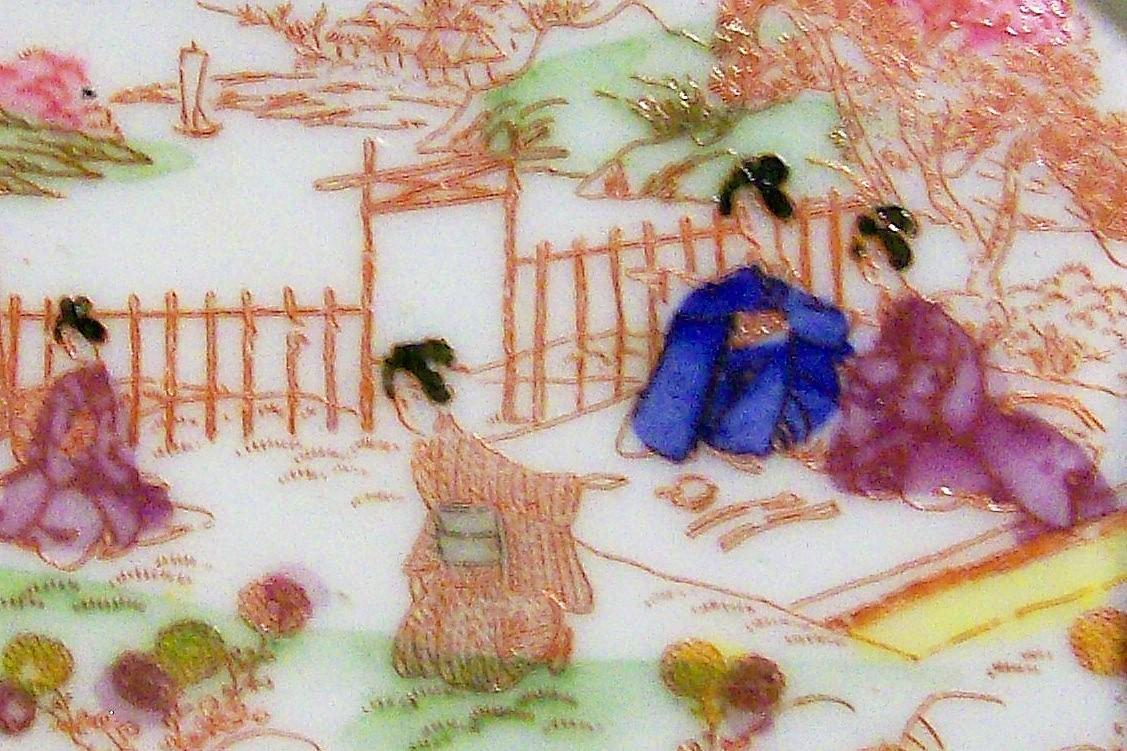 Vintage Geisha Girl Pin Tray Picnic Pattern Red Trim 4.75